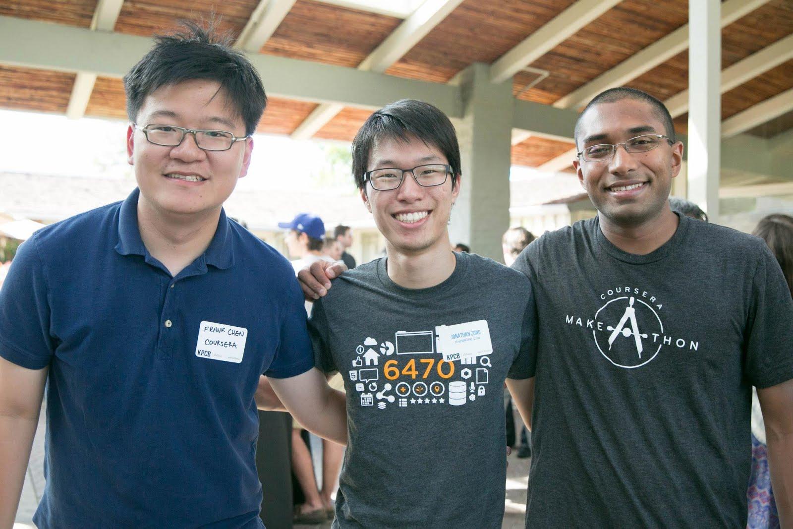 Jonathan and two Coursera engineers: Frank and Josh.
